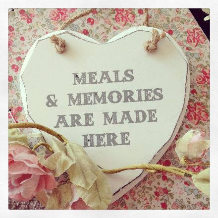 Meals & Memories Are Made Here Hanging Wooden Heart